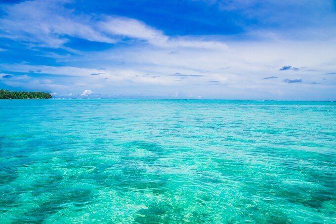 ココス島周辺の透き通った海