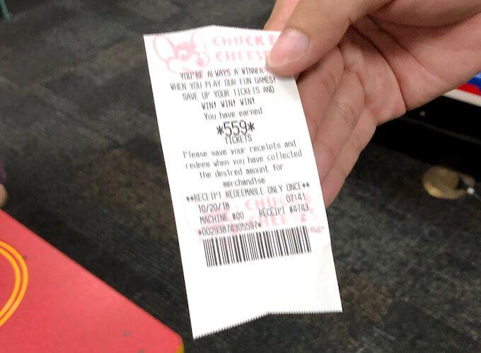 チャッキーチーズで交換したチケットのレシート
